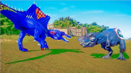 侏罗纪世界:三头霸王龙对战刺刺棘背龙