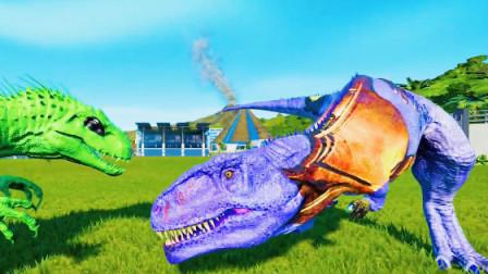 侏罗纪世界:大眼刺刺龙对战穿铠甲的霸王龙