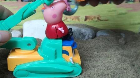 益智玩具:佩奇开吊车送美人鱼去沙滩