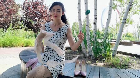 粉色裙子搭配10cm高跟鞋,小姐姐肤色丝袜,性感,气质十足喜欢了