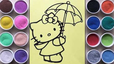咦?快下雨咯!凯蒂猫还提着雨伞准备去哪呢?