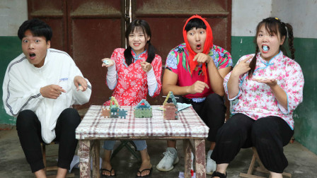 甜甜和小伙伴们玩积木糖,既能吃又能玩的糖果你吃过吗?真有趣