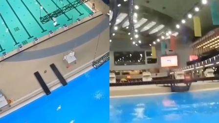 从20米高跳水是什么体验?运动员爬跳水台,拍第一视角跳水视频