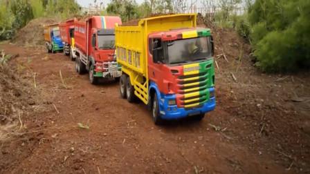 工程车自卸车运输泥土展示 创意玩具车