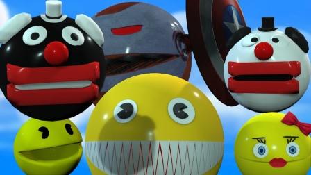 吃豆人动画:黄色吃豆人VS小丑吃豆人