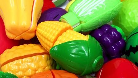 水果切切乐过家家玩具惊现彩色恐龙变形蛋 幼儿早教游戏