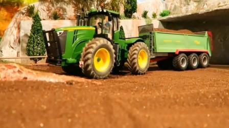 亲子益智玩具车 拖拉机与拖挂车模拟工作