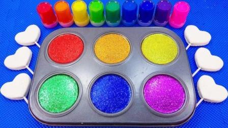 魔法染料盘创意新玩法,儿童色彩认知小朋友给棒棒糖着色识颜色啦
