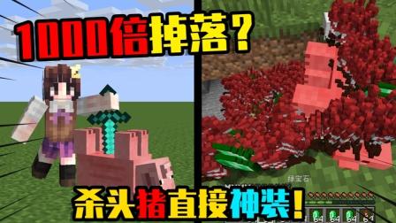 我的世界:假如MC里小猪会随机掉落装备,你还会杀它吗?