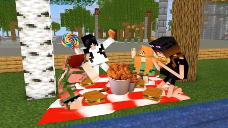 美味炸鸡可乐汉堡,不健康的垃圾食物《我的世界怪物学院》动画