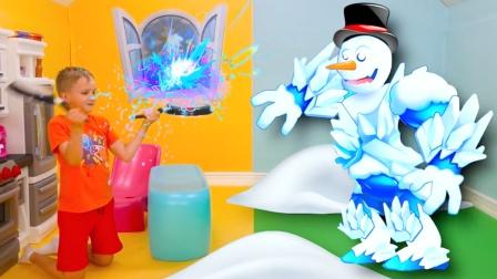 萌娃和雪人怪来到游戏世界,他打败雪人怪吗