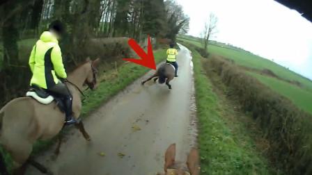 女子骑马外出,谁知意外忽然发生,马儿都懵了!