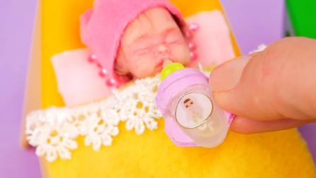 DIY手作,芭比娃娃的迷你婴儿水瓶,宝宝的趣味手工