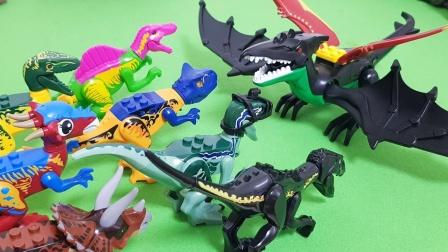黑色喷火翼龙来袭击小恐龙,小恐龙们合力抵抗他们