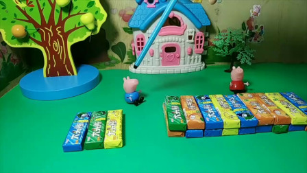 乔治和佩奇有泡泡糖,乔治喜欢吃大头贴泡泡糖,你喜欢吗?