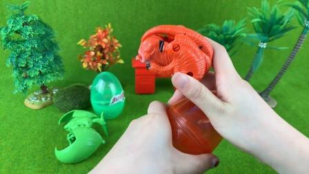 变形恐龙蛋玩具之翼龙 霸王龙 三角龙!
