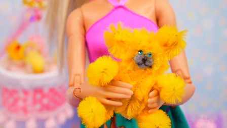 DIY手作,芭比娃娃的迷你绒毛熊玩具,宝宝的趣味手工