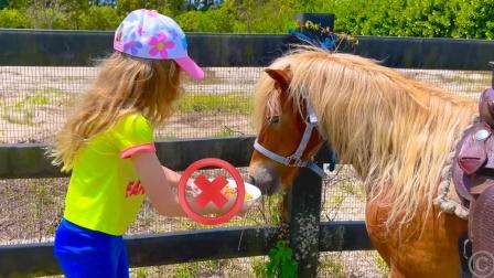 马儿不喜欢饼干,萌娃:胡萝卜才是它的最爱
