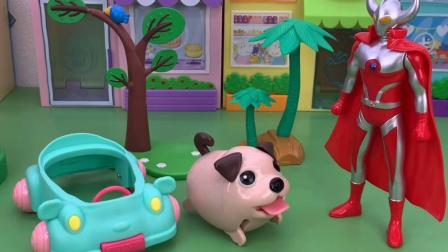 少儿玩具:奥特曼帮助佩奇乔治找到了狗狗