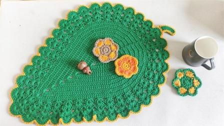 钩针树叶餐垫-天天编织钩针教程