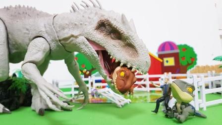 白色大恐龙,破坏了恐龙的围栏