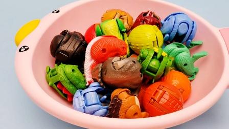 一口气变形一脸盆恐龙玩具是什么感觉恐龙变形蛋恐龙变形玩具合集