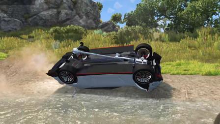 车祸模拟器:出村的道路断了,村长开车带头挑战大坑