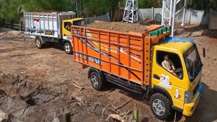 高仿工程车卡车运输沙土 创意玩具车
