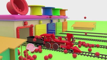 小火车被彩球染成了五颜六色