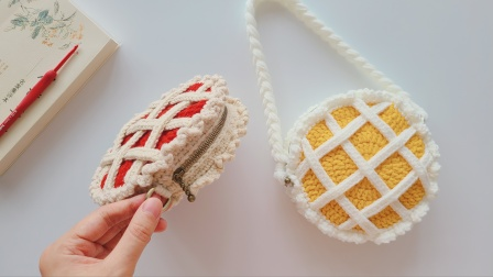 钩针圆形小包:创意交叉织带,开满了可爱花边
