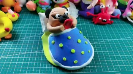 黏土手工:一只憨憨的单身狗,样子呆萌呆萌的