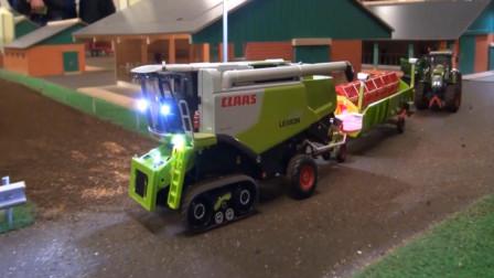 创意益智玩具 展示拖拉机与收割机在农场模拟作业