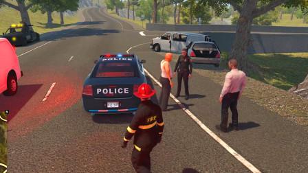 消防模拟器:高速公路上面发生车祸司机被困,过去救援一下