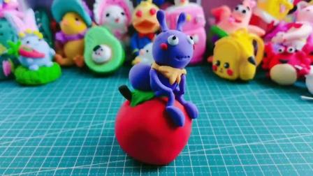 黏土手工:苹果上的小蚂蚁,创意的摆件