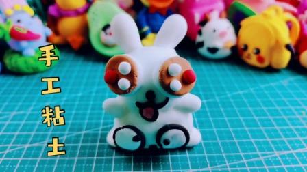 手工粘土:可爱的粘土小兔子,摆在桌上超有趣