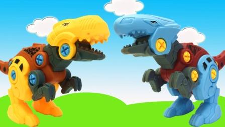 可拆卸恐龙拼装玩具 拧拧螺丝霸王龙迅猛龙就组装好啦