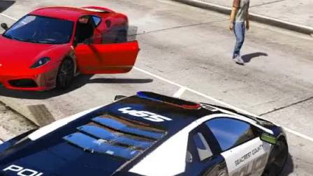 趣味小游戏:人生巅峰,开车装着警灯的跑车大街上溜达
