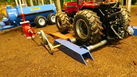 金属拖拉机在农场作业