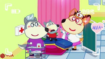 儿童卡通动画:牙齿天使来收集沃尔夫掉落的牙齿,被地球仪压住了