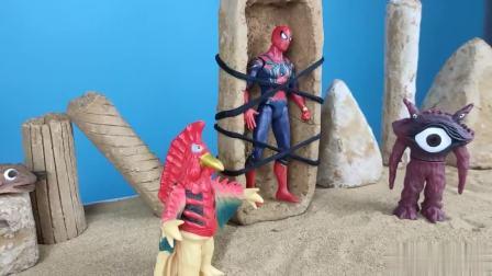 赛文和钢铁侠来营救蜘蛛侠,却被贝利亚打败关进石牢