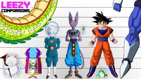 龙珠,所有角色体型大小比较,最大的超过了地球
