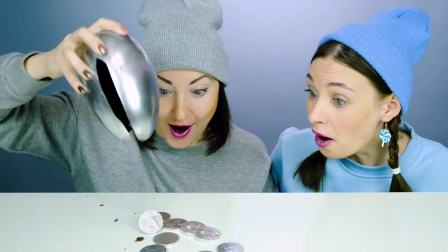 美食大挑战:银色VS蓝色,硬币、地球、杯子、雪人、乌云