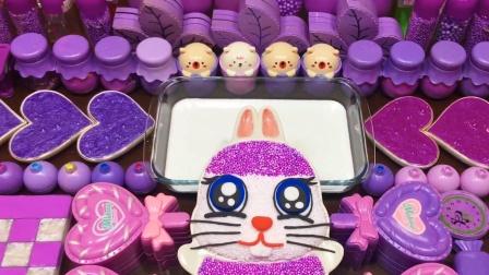 史莱姆化妆品大混合,喜欢紫色的小朋友来减压啦
