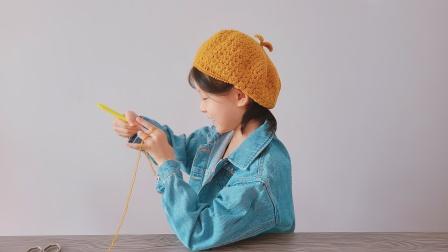 钩针贝雷帽,看起来像秋天的针法,精致可爱平静柔软