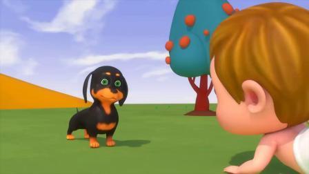 育儿动画:宝宝把树叶扇得到处都是,狗狗前来阻止