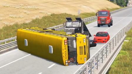 车祸模拟器:巴士翻车把路给堵住了只能开车飞跃跳台出村了