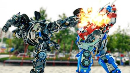 两小伙召唤机甲变形金刚终极对决,火花四溅,太精彩了!
