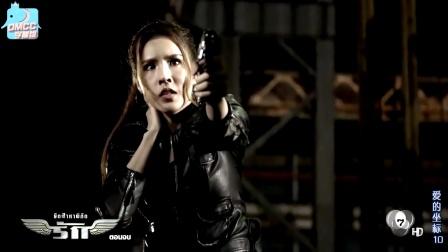 泰国皮衣女杀手被一枪打中脖子