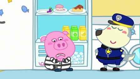 警察抓小偷,小猪躲藏进冰箱里