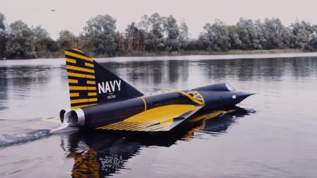 美国造巨型水上涡喷战斗机,速度超过音速,起飞场面很震撼